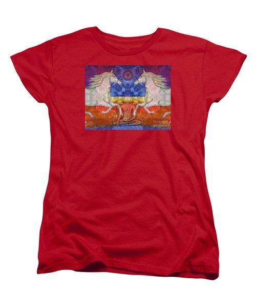 Women's T-Shirt (Standard Cut) featuring the digital art Horse Spirits In The Garden Of The Buddha 2 by Joseph J Stevens
