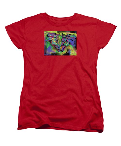 Women's T-Shirt (Standard Cut) featuring the painting Horses Together In Colour by Go Van Kampen