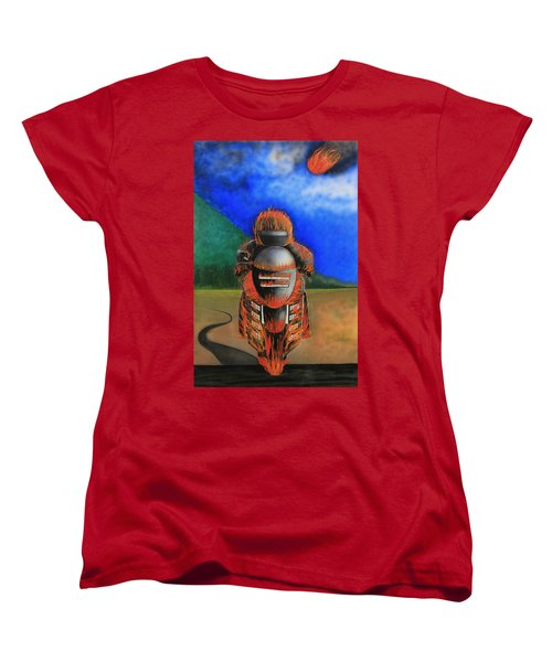 Women's T-Shirt (Standard Cut) featuring the painting Hot Moto by Tim Mullaney
