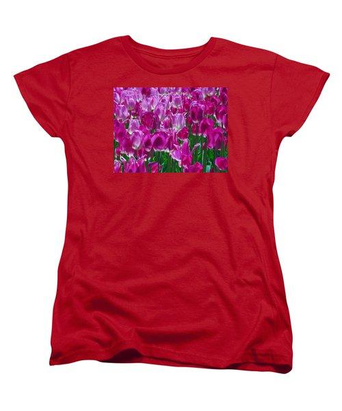 Hot Pink Tulips 3 Women's T-Shirt (Standard Cut) by Allen Beatty