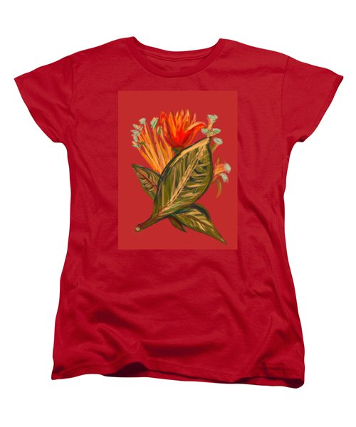 Women's T-Shirt (Standard Cut) featuring the digital art Hot Tulip R by Christine Fournier