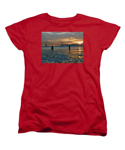 Hudson River Icey Sunset Women's T-Shirt (Standard Cut) by Jeffrey Friedkin