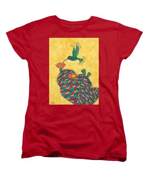 Hummingbird And Prickly Pear Women's T-Shirt (Standard Cut) by Susie Weber
