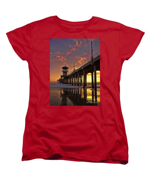 Huntington Beach Pier Women's T-Shirt (Standard Cut) by Peggy Hughes