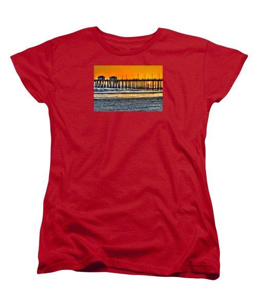 Women's T-Shirt (Standard Cut) featuring the photograph Huntington Beach Sunset by Jim Carrell