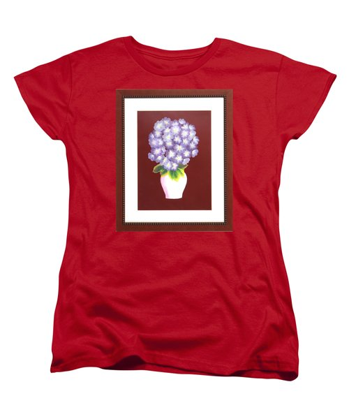 Women's T-Shirt (Standard Cut) featuring the painting Hydrangea by Ron Davidson