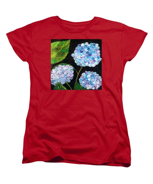 Women's T-Shirt (Standard Cut) featuring the painting Hydrangeas  by Reina Resto