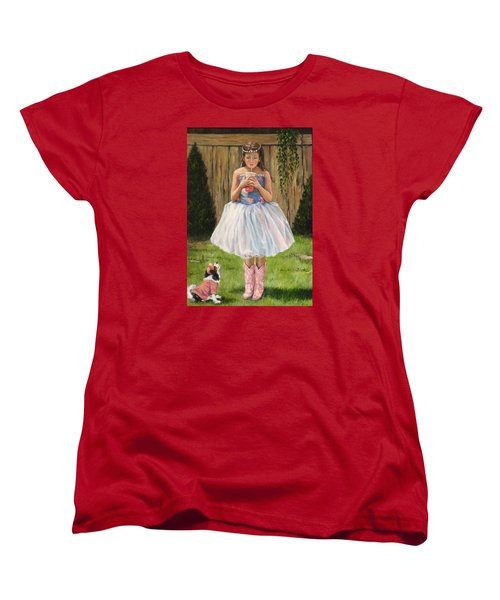 Women's T-Shirt (Standard Cut) featuring the painting I Dressed Myself by Donna Tucker
