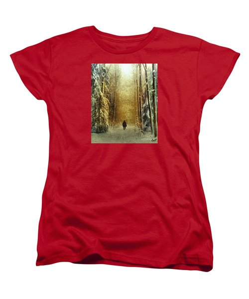 Women's T-Shirt (Standard Cut) featuring the painting I'll Be Home For Christmas by Dragica  Micki Fortuna