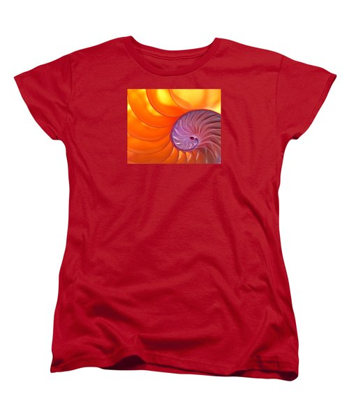 Illuminated Translucent Nautilus Shell With Spiral Women's T-Shirt (Standard Cut) by Phil Cardamone