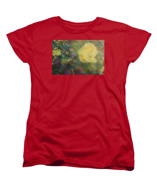 Women's T-Shirt (Standard Cut) featuring the photograph Impressionistic Yellow Rose by Dora Sofia Caputo Photographic Art and Design