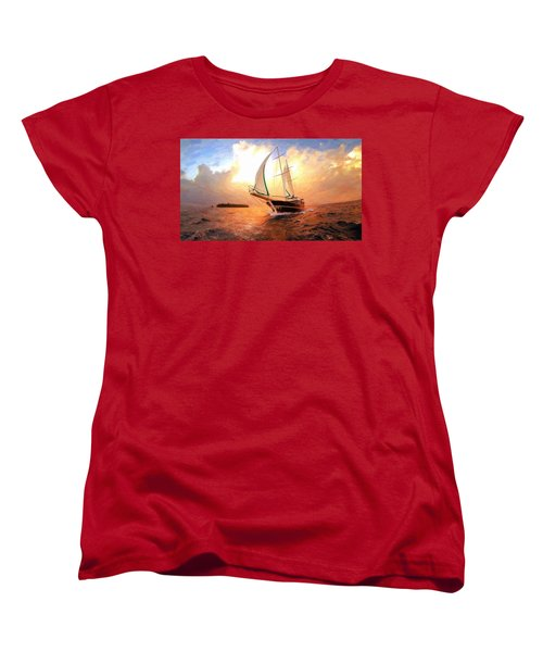 In Full Sail - Oil Painting Edition Women's T-Shirt (Standard Cut) by Lilia D