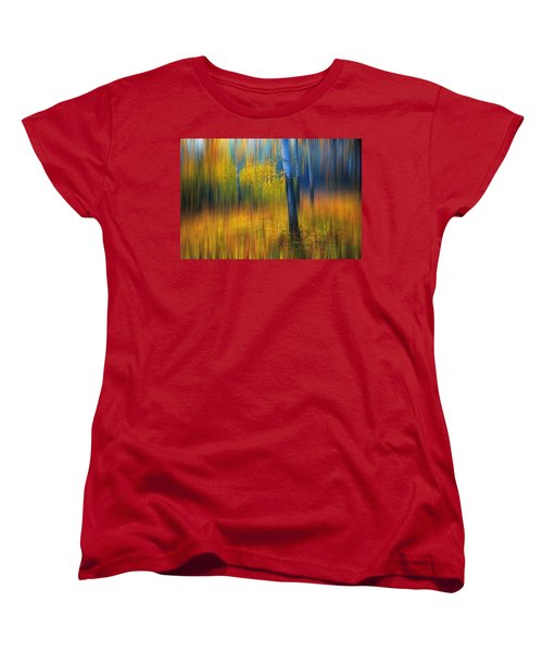 In The Golden Woods. Impressionism Women's T-Shirt (Standard Cut) by Jenny Rainbow
