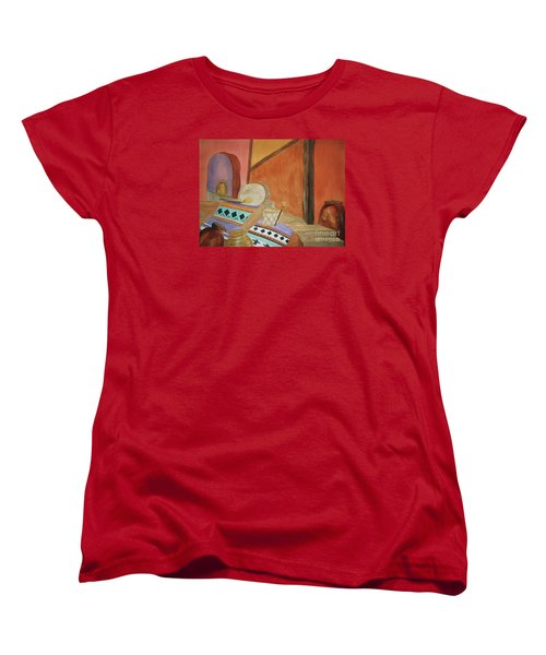 Women's T-Shirt (Standard Cut) featuring the painting Indian Blankets Jars And Drums by Ellen Levinson
