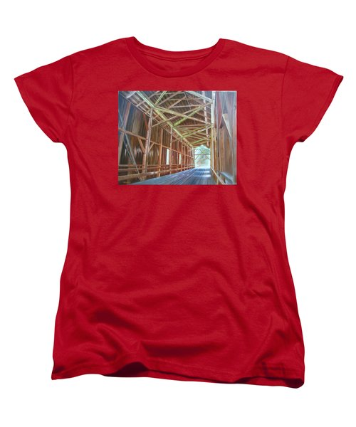 Women's T-Shirt (Standard Cut) featuring the painting Inside Felton Covered Bridge by LaVonne Hand