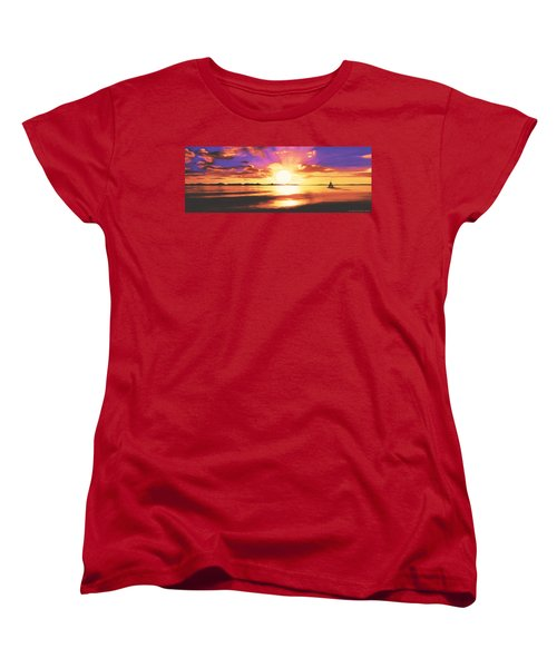 Women's T-Shirt (Standard Cut) featuring the painting Into The Sunset by Sophia Schmierer