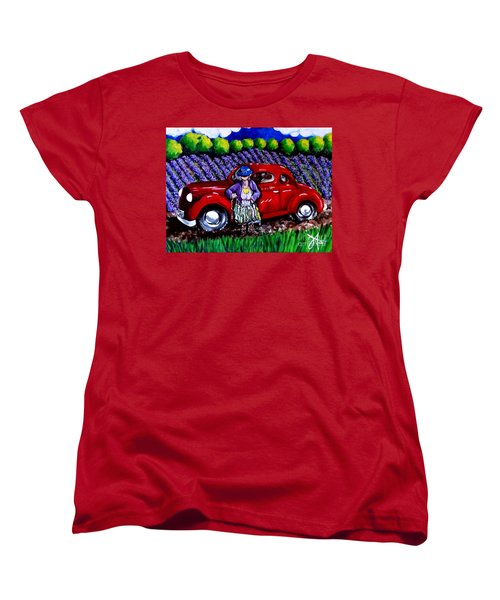 J. C. 1931 Fishing In Red Women's T-Shirt (Standard Cut) by Jackie Carpenter
