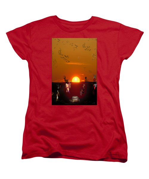 Women's T-Shirt (Standard Cut) featuring the digital art Jazz Fest by Cathy Anderson