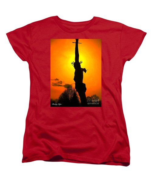 Jesus In Sunset 1 Hope Women's T-Shirt (Standard Cut) by Becky Lupe