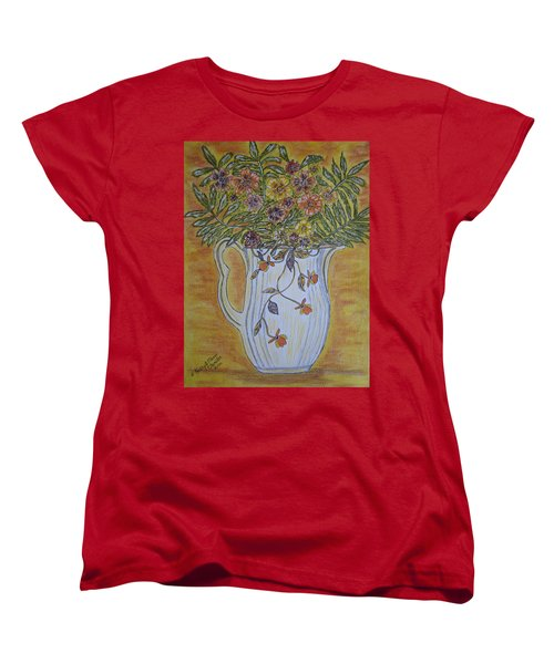 Jewel Tea Pitcher With Marigolds Women's T-Shirt (Standard Cut) by Kathy Marrs Chandler