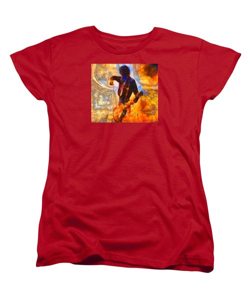 Jimmy Page Playing Guitar With Bow Women's T-Shirt (Standard Cut) by Dan Sproul