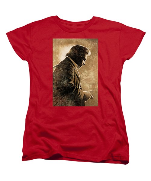 Johnny Cash Artwork Women's T-Shirt (Standard Cut) by Sheraz A