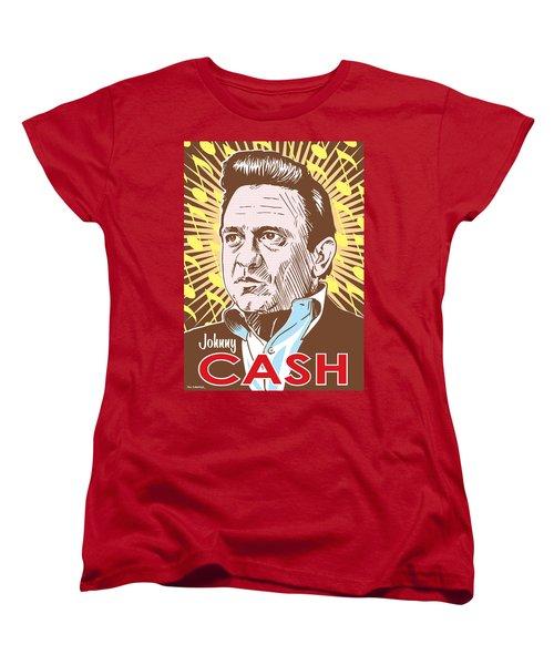 Johnny Cash Pop Art Women's T-Shirt (Standard Cut) by Jim Zahniser