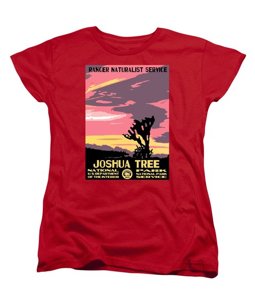 Joshua Tree National Park Vintage Poster Women's T-Shirt (Standard Cut) by Eric Glaser