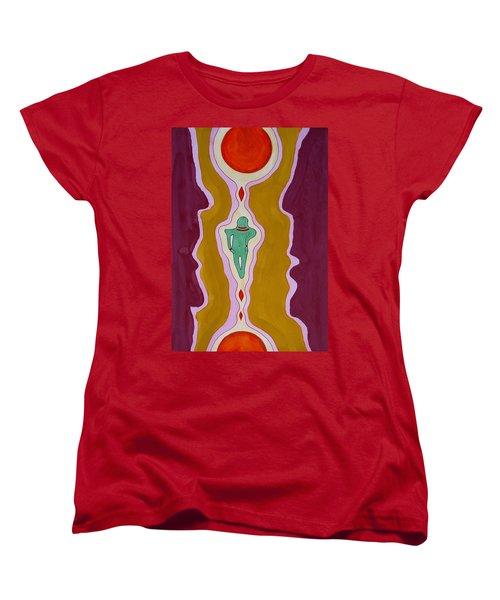 Journey Between Suns Original Painting Women's T-Shirt (Standard Cut) by Sol Luckman