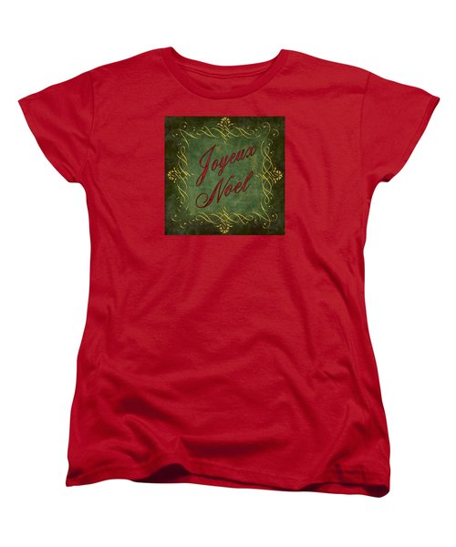 Women's T-Shirt (Standard Cut) featuring the digital art Joyeux Noel In Green And Red by Caitlyn  Grasso