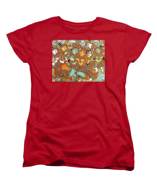 Kerala Mural Painting Women's T-Shirt (Standard Cut) by Pg Reproductions