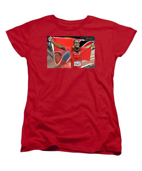 Women's T-Shirt (Standard Cut) featuring the mixed media Keshorn Walcott by Vannetta Ferguson