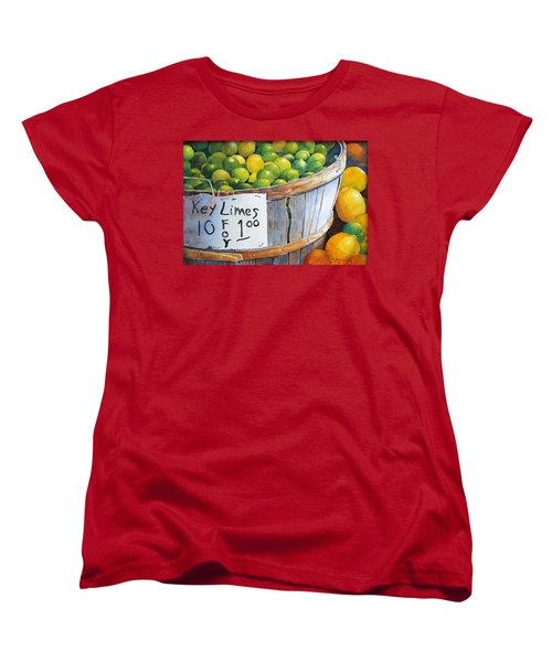 Women's T-Shirt (Standard Cut) featuring the painting Key Limes Ten For A Dollar by Roger Rockefeller