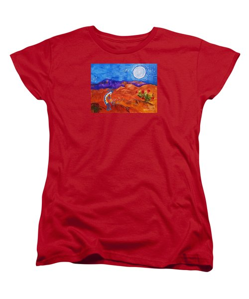 Kokopelli Playing To The Moon Women's T-Shirt (Standard Cut) by Ellen Levinson
