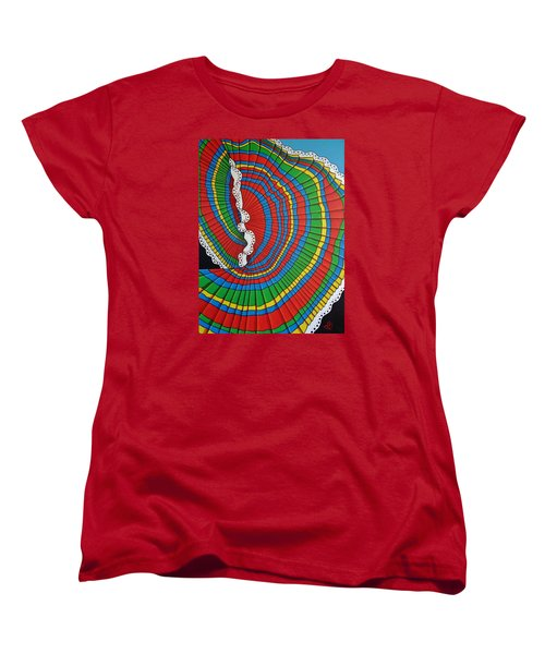 Women's T-Shirt (Standard Cut) featuring the painting La Falda Girando - The Spinning Skirt by Katherine Young-Beck