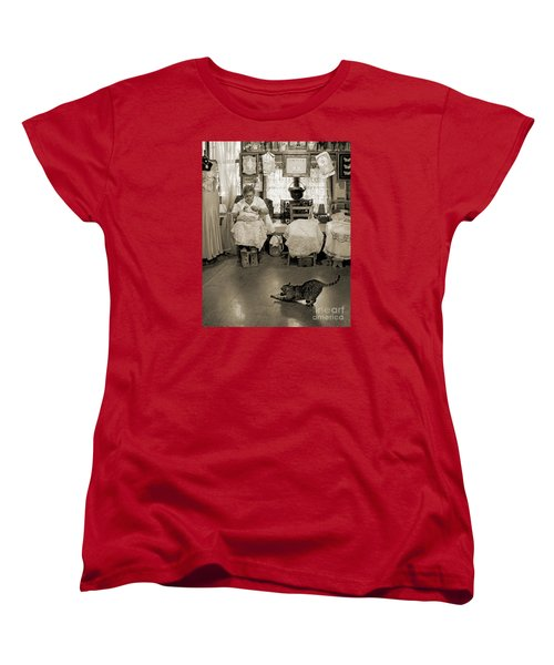 Women's T-Shirt (Standard Cut) featuring the photograph Lace Lady Of Burano-bw by Jennie Breeze