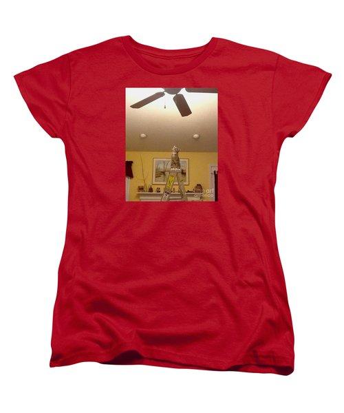 Ladder Cat Women's T-Shirt (Standard Cut) by Stacy C Bottoms