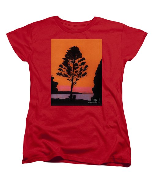 Women's T-Shirt (Standard Cut) featuring the drawing Lake Sunset by D Hackett