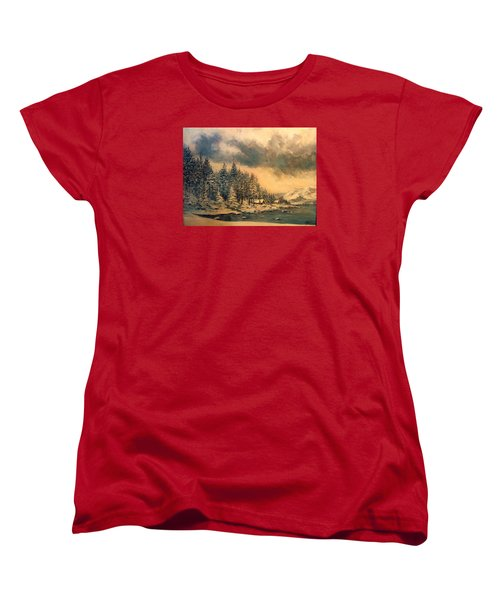 Women's T-Shirt (Standard Cut) featuring the painting Lake Tahoe Winter Colors 2 by Donna Tucker