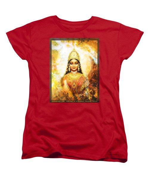 Women's T-Shirt (Standard Cut) featuring the mixed media Lakshmi Goddess Of Abundance In A Galaxy by Ananda Vdovic