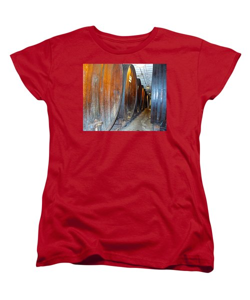 Large Barrels At Korbel Winery In Russian River Valley-ca Women's T-Shirt (Standard Cut) by Ruth Hager