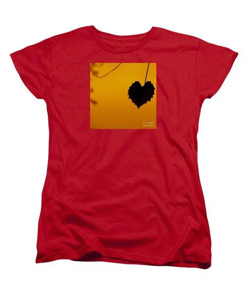 Women's T-Shirt (Standard Cut) featuring the photograph Last Leaf Silhouette by Joy Hardee