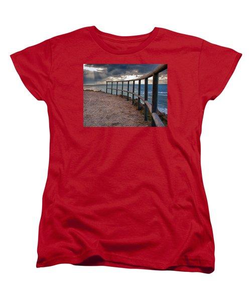 Rail By The Seaside Women's T-Shirt (Standard Cut) by Mike Santis