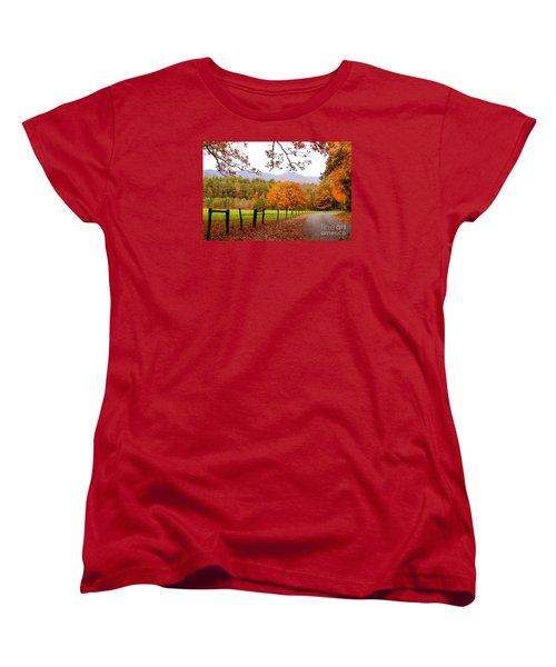 Women's T-Shirt (Standard Cut) featuring the photograph Leaves A'fallin by Geraldine DeBoer