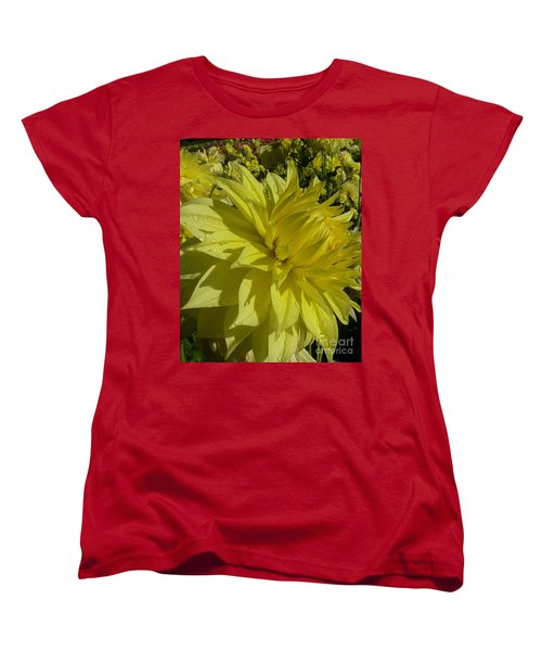 Women's T-Shirt (Standard Cut) featuring the photograph Lemon Yellow Dahlia  by Susan Garren