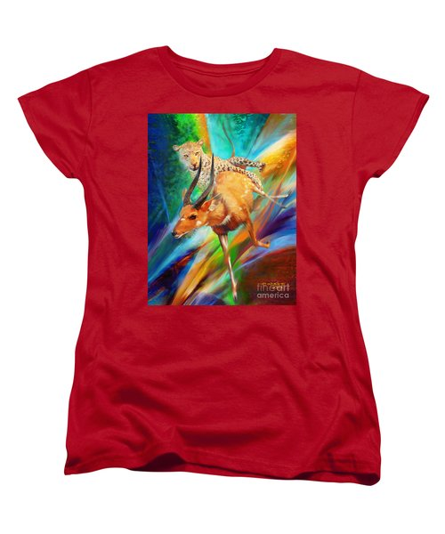 Women's T-Shirt (Standard Cut) featuring the painting Leopard Attack by Rob Corsetti