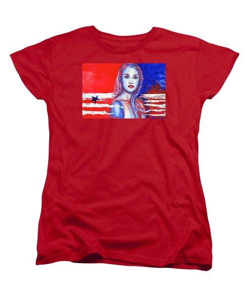Liberty American Girl Women's T-Shirt (Standard Cut) by Anna Ruzsan