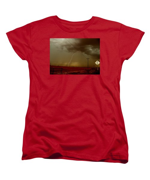 Women's T-Shirt (Standard Cut) featuring the photograph Lightning Strike In Oil Country by Ed Sweeney