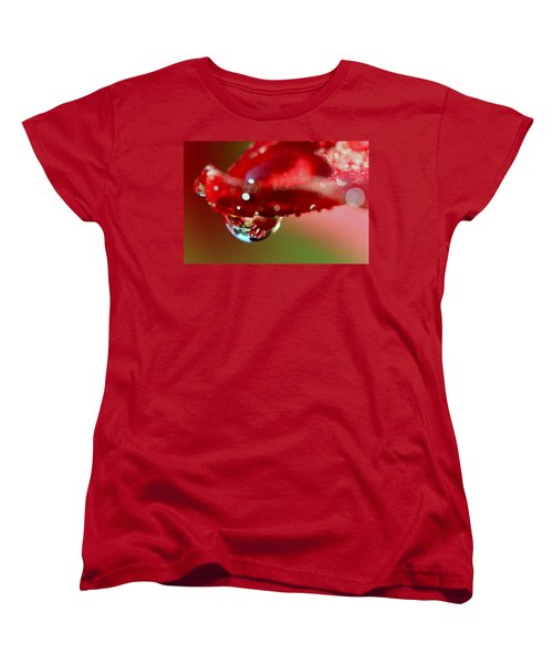 Women's T-Shirt (Standard Cut) featuring the photograph Lily Droplets by Suzanne Stout