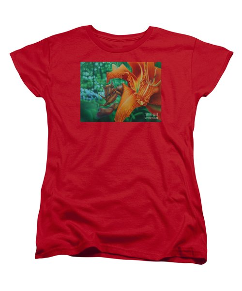 Women's T-Shirt (Standard Cut) featuring the painting Lily's Evening by Pamela Clements